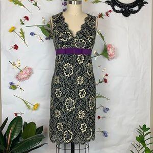 Anna Sui black and cream lace dress w/ purple bow